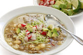 Pozole, mexican soup cuisine — Stock Photo