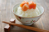Seasoned cod roe on the rice — Stock Photo