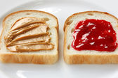 Peanut butter & jelly sandwich — Stock Photo