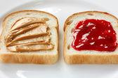 Peanut butter & jelly sandwich — Stock Photo