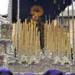 Costaleros bearing a Tronos during Semana Santa in Malaga, Spain — Stock Photo