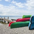Canoes at Lake Léman - Stock Photo