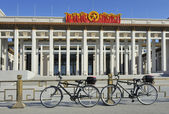 Two bikes in front of the National Museum of Chinese History in — Stock Photo