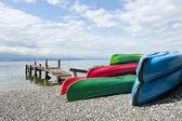 Canoes at Lake Léman — Stock Photo