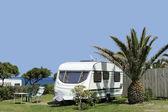 Caravans at camping — Stock Photo