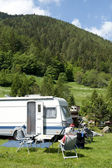 Camping with caravans — Stock Photo