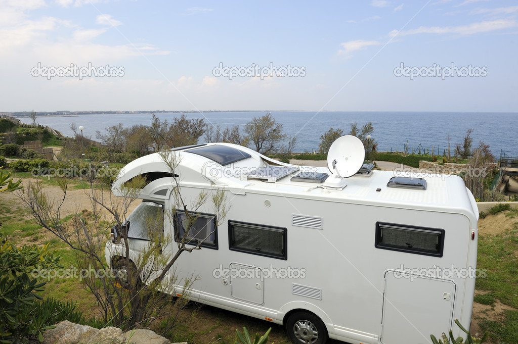 Mobil home at a camping near the sea  Stock Photo #8377832