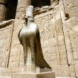 Horus statue at the Horus Temple in Edfu/Idfoe - Stock Photo