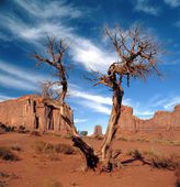 Large rock formations in the Navajo park Monument Valley — Foto Stock