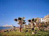 Beach of Malaga with cruise ship — Stock Photo