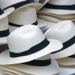Straw hats with black band — Stock Photo