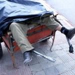 Dead man in push car — Stock Photo #8442984