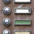 Old apartment buzzers - names removed — Foto Stock