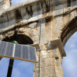 Stock Photo: Amphitheater in Pula, Croatiwith in front solar cell