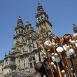 Souvenirs in front of the Santiago of Compostela impressive cath — Stock Photo
