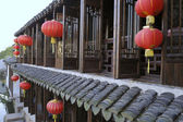 House with red lampions in Zhouzhuang — Stock Photo