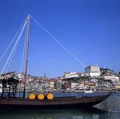 Boat at Oporto city — Stock Photo