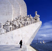 Sea-Discoveries monument in Lisbon, Portugal. Navigators statues in a stone — Stock Photo