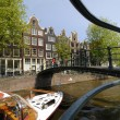 Tourist sight seeing boat in Amsterdam canal — Stock Photo