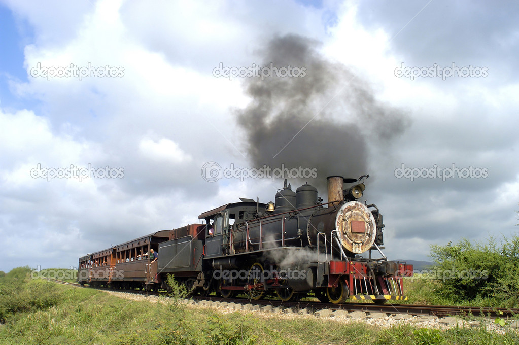 Old train for tourists sightseeing in Cuba  Stock Photo #8518524