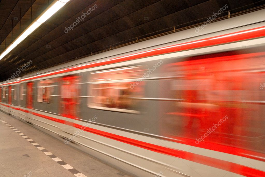 Subway station platform with train — Stock Photo #8639745