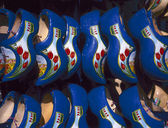 Blue wooden shoes — Stock Photo