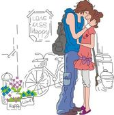 Couple kisses on a street — Stockvector