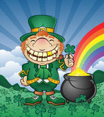 Leprechaun Pot Of Gold Cartoon Character — Stock Vector