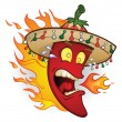 Flaming Sombrero Chili Pepper — Stock Vector