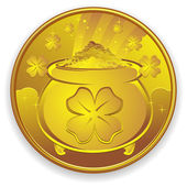 Lucky Gold Coin — Stock Vector