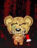 Psycho Teddy Bear — Stock Vector