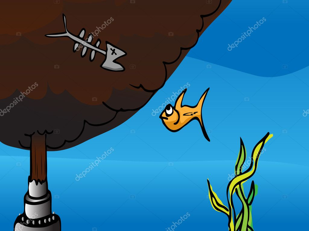 Cartoon of a fish watching the dead remains of another fish at a broken oil pipe gushing crude into the ocean. EPS version has a mask to reveal a taller plume. — Stock Photo #8350568