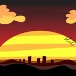 Sonnenuntergang Stadt in der Abenddämmerung — Stockfoto