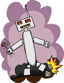 Giant Robot Attacks — Stock Photo