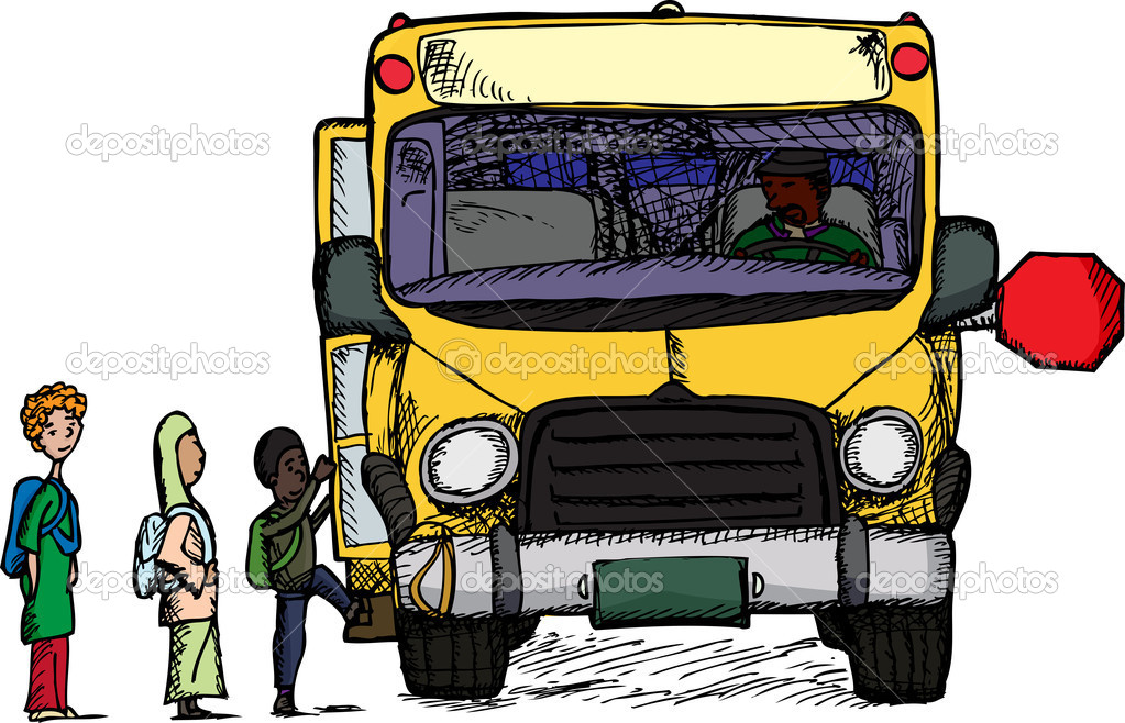 Diverse group of children board a big yellow schoolbus — Stock Photo #8402934
