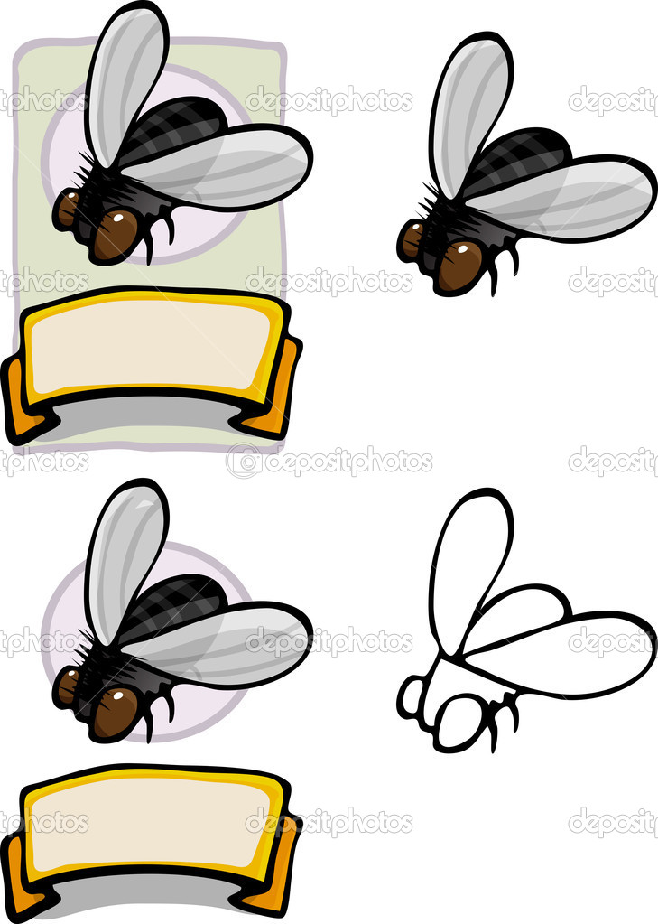 Variations of a housefly brand logo and label (Musca domestica). — Stock Photo #8403244