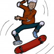 Stock Vector: Senior Citizen Skateboarder
