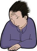 Asian Man in Solitude — Stock Vector