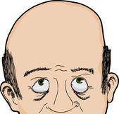 Bald Man Looks Up — Stock Vector