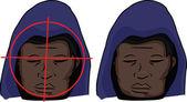 Black Man Targeted — Stock Vector