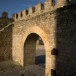 Stock Photo: Parapet walk of fortress. Gate and merlons.