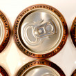 Stock Photo: Row golden aluminum non alcoholic beer cans