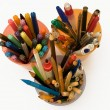 Colorful pens, felt-tips, markers and pencils in a box container on a white — Stock Photo #8435945