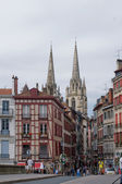Bayonne, France. Sainte-Marie de Bayonne Cathedral in background. — Stock Photo
