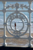 Railing from San Sebastian with Concha Beach in background. San — Stock Photo
