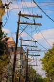 Wooden Electrical Posts. — Stock Photo