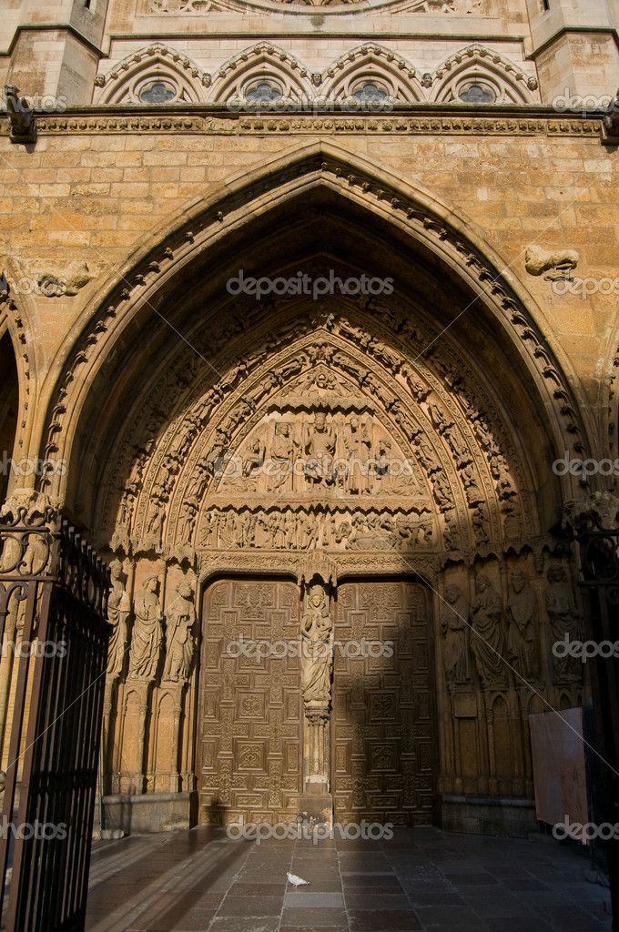 Cathedral of Leon in Spain. Front of Reckoning or Portada del Juicio  Stock Photo #8485720