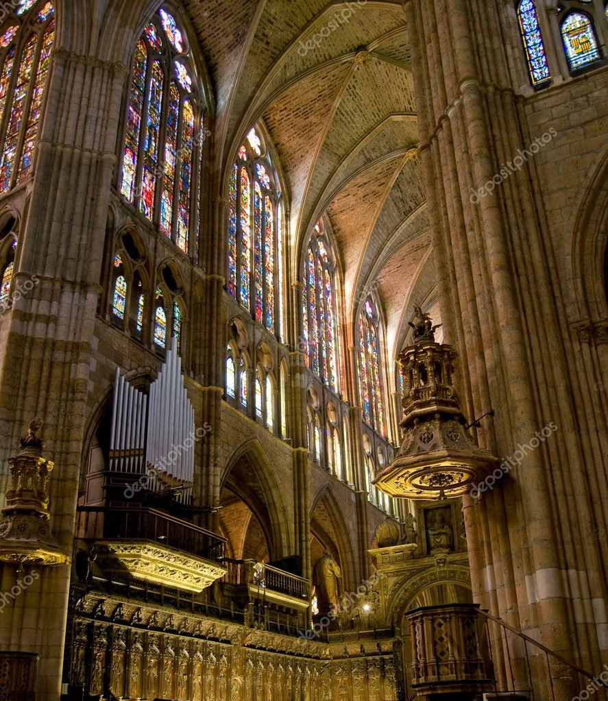 Choir in Santa Maria de Leon Cathedral. Leon, Spain ...