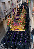 Costaleros. Bearers of religious images during processions in Holy Week. Is the most important religious festivity. Spain — Stock Photo