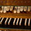 Classic organ keyboard and keys to changing instrument - Stok fotoğraf